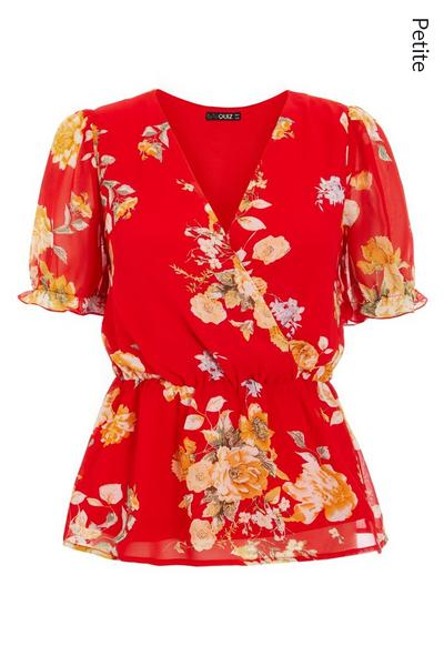 Petite Red Floral Wrap Top